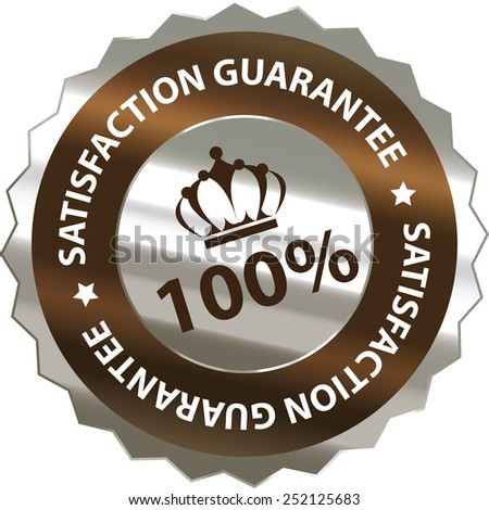 brown silver metallic 100% satisfaction guarantee sticker, sign, badge, icon, label isolated on white - stock photo