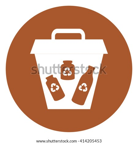 Brown Simple Circle Glass Recycle Bin Infographics Flat Icon, Sign Isolated on White Background - stock photo