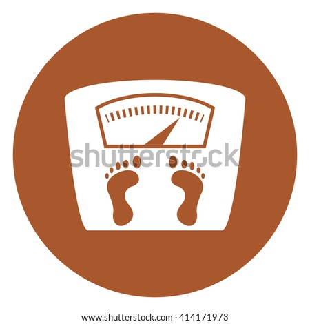 Brown Simple Circle Weight Scale Infographics Flat Icon, Sign Isolated on White Background - stock photo