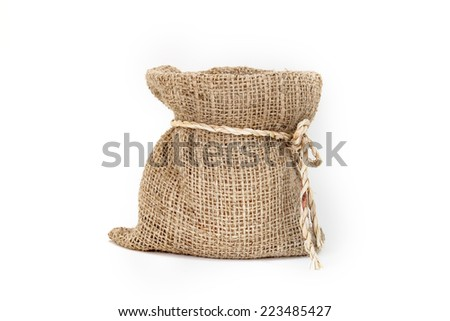 Brown small burlap bag with rope on white background - stock photo