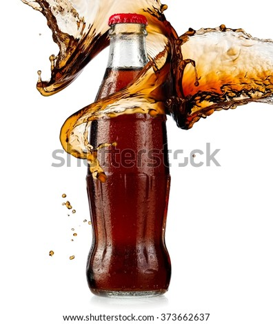 Brown soda water bottle with drops splash - stock photo
