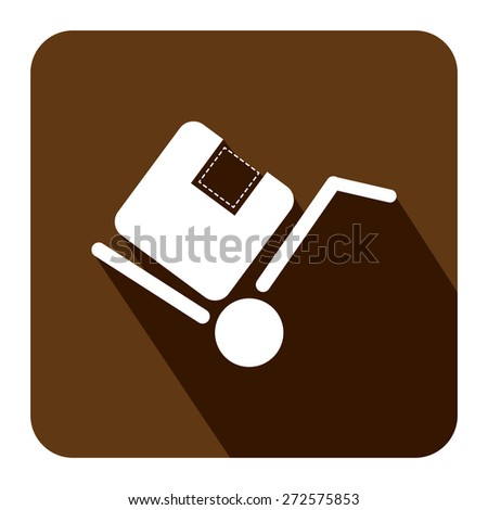 Brown Square Delivery or Shipping Long Shadow Style Icon, Label, Sticker, Sign or Banner Isolated on White Background - stock photo