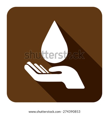Brown Square Hand Hold Water Drop Flat Long Shadow Style Icon, Label, Sticker, Sign or Banner Isolated on White Background - stock photo
