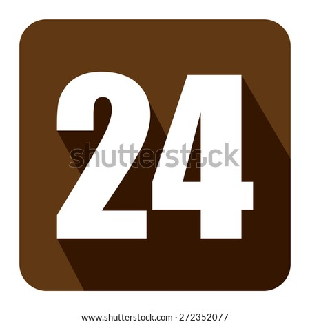 Brown Square 24, 24HR, 24HRS, 24 Hours Service, 24 Hours Open Long Shadow Style Icon, Label, Sticker, Sign or Banner Isolated on White Background - stock photo