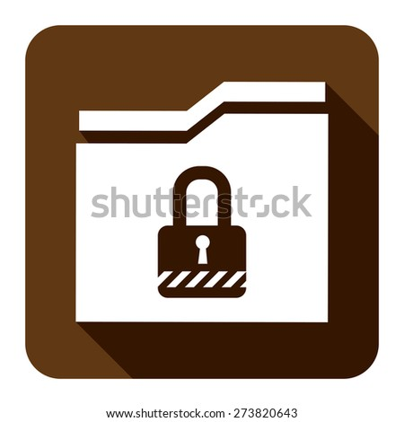 Brown Square Secret Folder or Data Permission Security Long Shadow Style Icon, Label, Sticker, Sign or Banner Isolated on White Background - stock photo