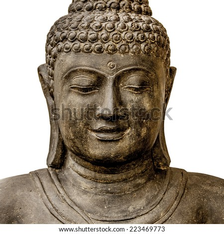 Brown stone buddha close up portrait on isolated white background - stock photo