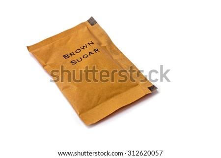 brown sugar bag on white background.  - stock photo
