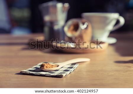 brown sugar heap in coffee shop - stock photo