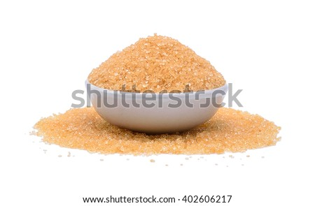 brown sugar in bowl isolated on white background - stock photo
