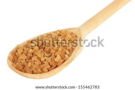 Brown sugar in spoon isolated on white - stock photo