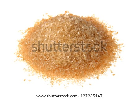 Brown sugar isolated on white background - stock photo