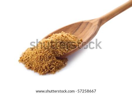 brown sugar over spoon - stock photo