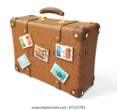 brown suitcase isolated on a white background - stock photo