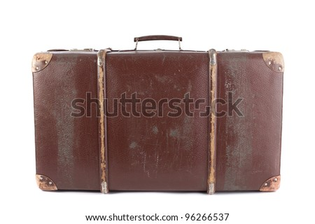 Brown suitcase isolated on white background - stock photo