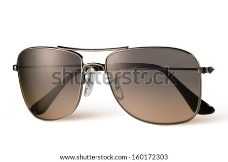 brown sunglasses isolated on white - stock photo
