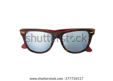 Brown sunglasses with blue lenses - stock photo