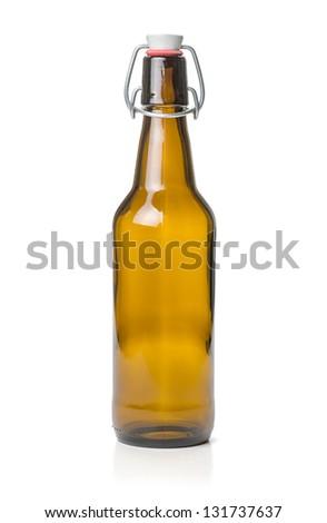 brown swing top beer bottle - stock photo