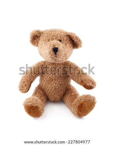 Brown teddy bear on white background - stock photo