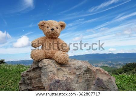 brown teddy bear sitting on the rock against blue sky - stock photo