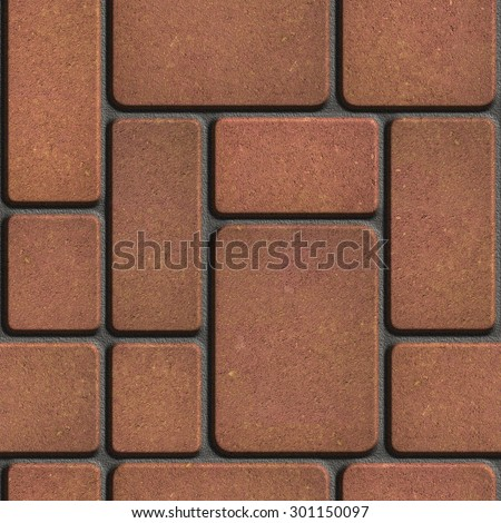 Brown Tiles of Different Rectangular Shapes. Seamless Tileable Texture. - stock photo