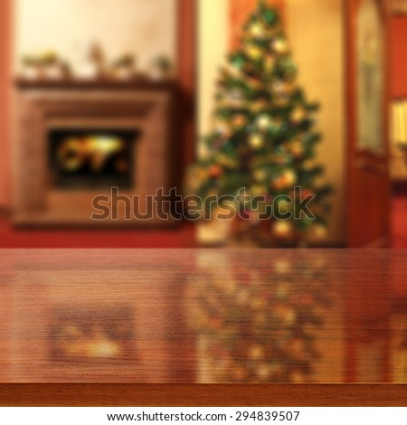 brown top place and xmas tree with fireplace  - stock photo