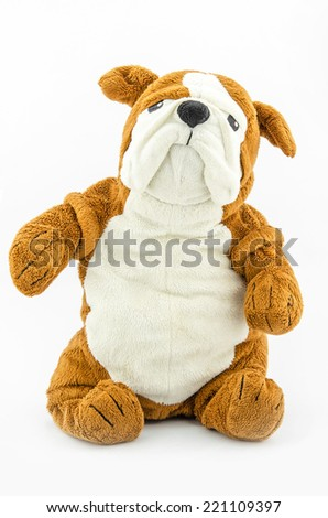brown  toy dog isolated on white  - stock photo