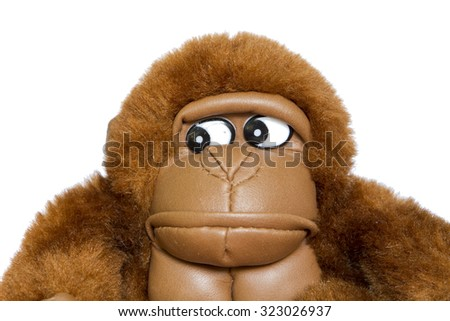 brown toy gorilla face close up view on white background. symbol of New Year 2016 - stock photo
