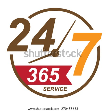 brown 24 7 365, twenty four seven, round the clock service sticker, icon, label, banner, sign isolated on white  - stock photo