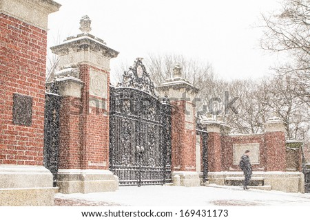 Brown University gate Ivy League College Campus winter snow scene - stock photo