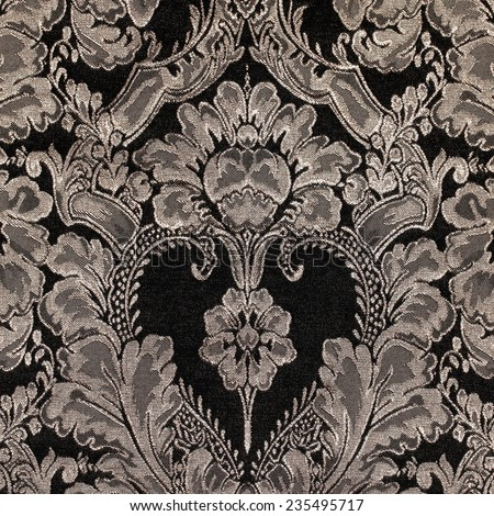 brown vintage fabric with damask pattern as background, square image - stock photo