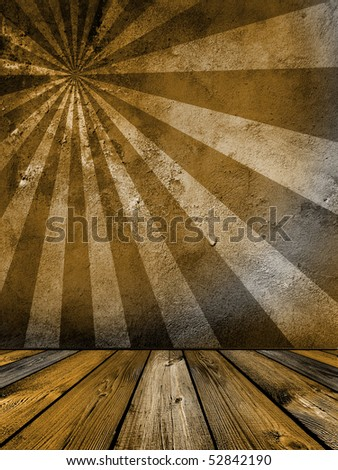brown vintage interior with sunbeam on the wall - stock photo