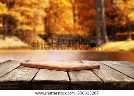 brown water in lake golden leaves of forest and wooden board  - stock photo