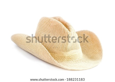 Brown weaving hat isolated on white background - stock photo