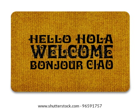 Brown welcome carpet, welcome doormat carpet isolated on white. - stock photo