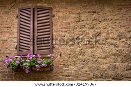 Brown window shutters and purple decorative flowers - stock photo