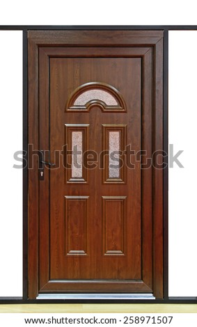 Brown wood door with small windows - stock photo