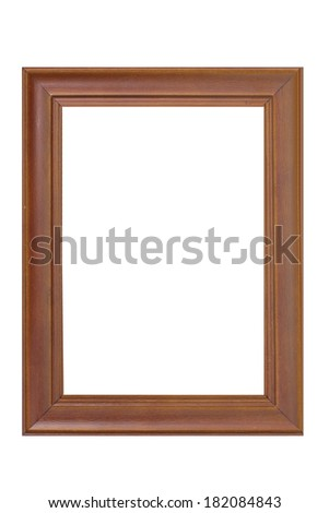 brown Wood frame isolated on white background - stock photo