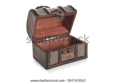Brown  wood jewelry box  isolated on white background - stock photo