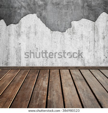 brown wood plank floor and stone wall for background - stock photo