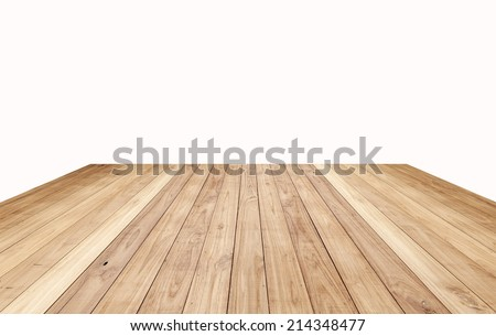 Brown wood plank floor texture background isolated on white - stock photo