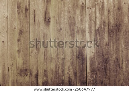 Brown wood plank wall texture background, instagram filter - stock photo
