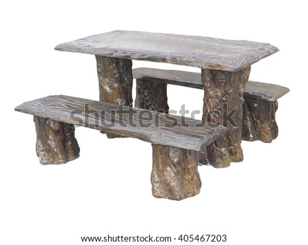Brown wooden garden furniture table and chairs isolated over white background - stock photo