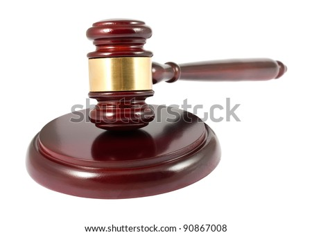 Brown wooden gavel isolated on white background - stock photo