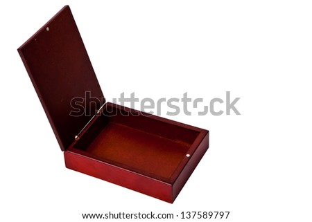brown wooden open box isolated on white - stock photo