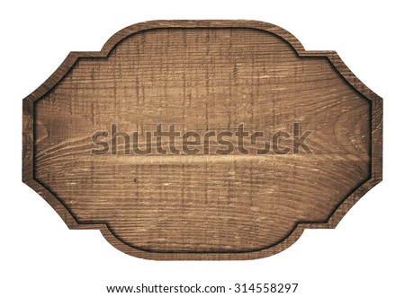 Brown wooden signboard, plate, plank and dark frame on white background - stock photo