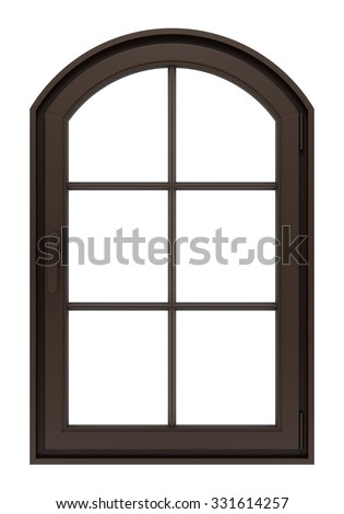 brown wooden window isolated on white background - stock photo