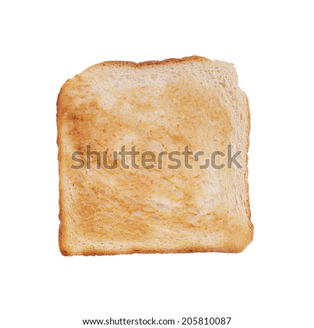 browned toast isolated on white - stock photo