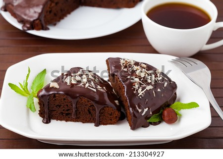 Brownie on the white dish - stock photo