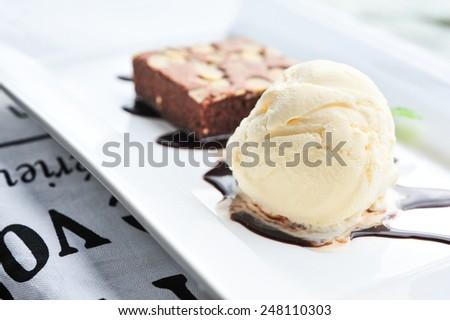 brownie with icecream - stock photo