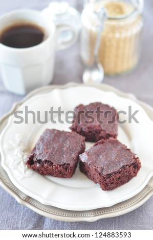 Brownies and coffee - stock photo